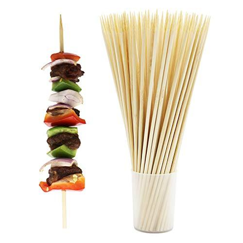 Prouten 300pcs Thick Bamboo Skewer Sticks for Shish Kabob Fruit Beef Chicken and Other Food 10 inch X 4 mm Thick Round and Sturdy | 3 Individual Bags in a Package