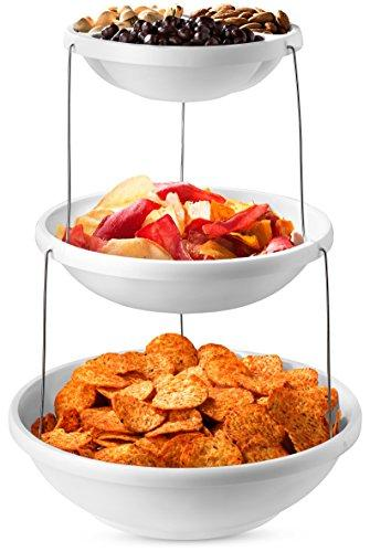 Collapsible Bowl, 3 Tier - The Decorative Plastic Bowls Twist Down and Fold Inside for Minimal Storage Space. Perfect for Serving Snacks, Salad and Fruit. The Top Bowl is Divided into Three Sections.
