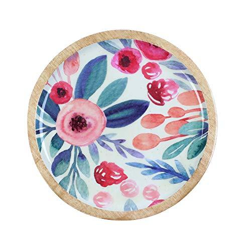 Round Serving Platter or Serving Tray, Wooden Cheese Board or Plate to Serve Cheese, Salad or Breakfast, Mango Wood, 11-inch, Floral