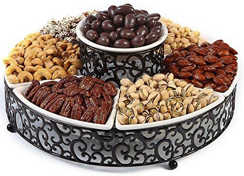 Elegant 7-Piece Section Serving Platter, Ceramic and Pressed Metal, Ideal for Appetizers, Salad, Party Bowl, Relish Dish, Chip and Dip Set.