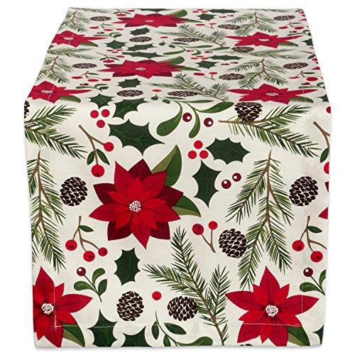 "DII 100% Cotton, Machine Washable, Printed Kitchen Table Runner For Dinner Parties and Holidays - 14x108"", Woodland Christmas"