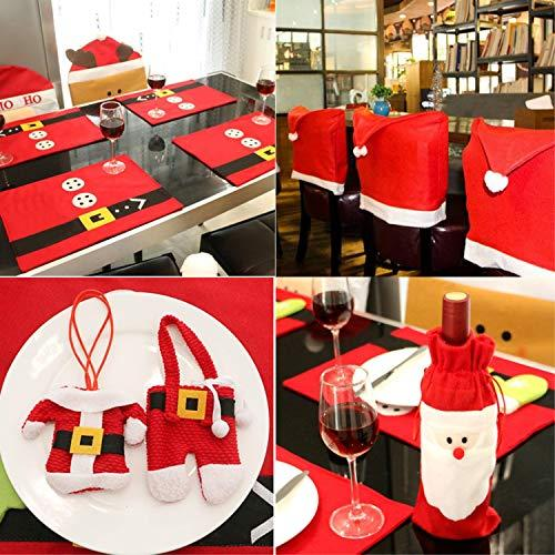 Christmas Dinner Table Party Decorations Kit (with 6 Santa Claus Red Hat Chair Back Cover + 6Placemats + 6 Silverware Holder Pockets + 2 Wine Bottle Bags), Family Xmas Party Decor Gift (Set 1)