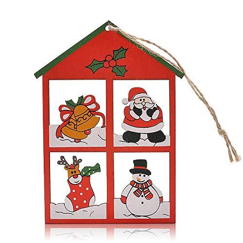 Agordo 12pcs Cute Wooden Christmas Tree Ornament Home Decoration Windows Shape Pendant