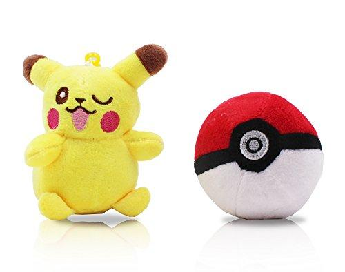 Finex Set of 2 Pikachu Pokemon Yellow Plush Male Pikachu ball Pokeball Beaded Chain Keychain Hanging Ornaments