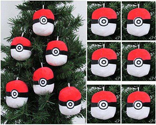 "POKEMON Catcher - 6 Piece Poké Ball Plush Christmas Tree Ornament Set Featuring 6 Red Poké Balls - Averages 3"" Round"