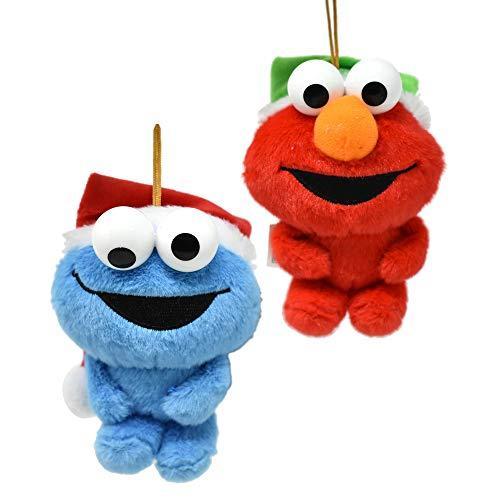 Hanging Plush Elmo and Cookie Monster with Santa Hat Holiday Ornament, 5-Inch, 2-Piece