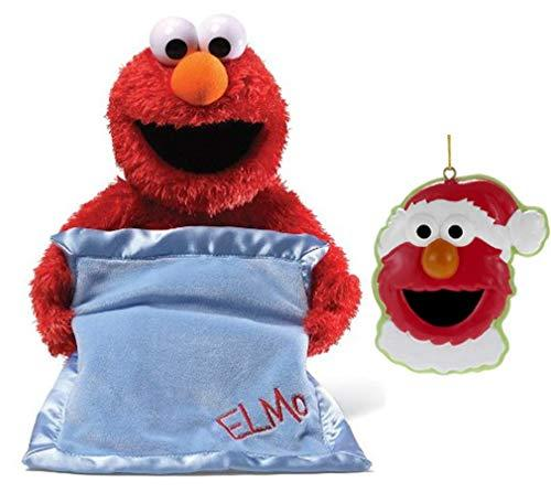 GUND Sesame Street Peek A Boo Elmo Plush Bundle with Kurt Adler Santa Elmo Ornament