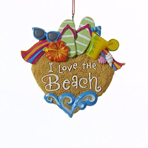 Kurt Adler I Love the Beach Sandals Sunglasses Shells Christmas Ornament