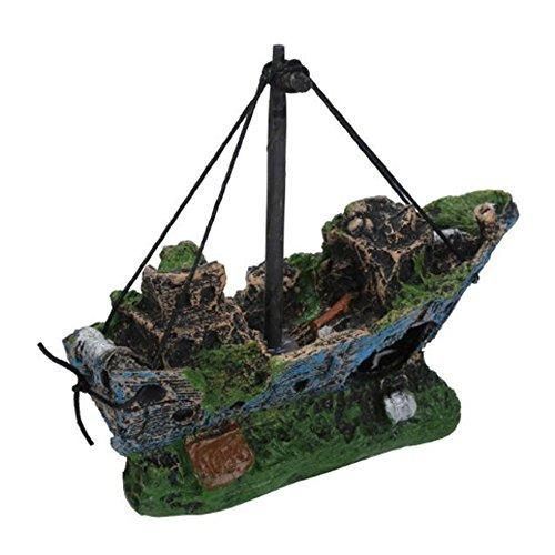 Sinohomie 2018 Aquarium Ornament Wreck Sunk Sailing Boat Pirate Ship Fish Tank Cave Decor