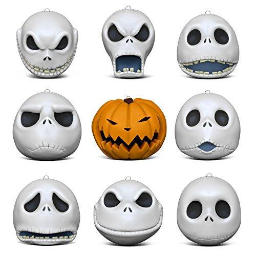 Hallmark Keepsake Christmas Ornaments 2018 Year Dated, Tim Burtons The Nightmare Before Christmas The Many Faces of Jack Skellington 25th Anniversary, Porcelain, Set of 9