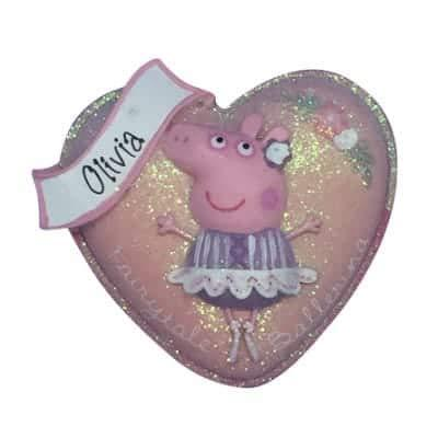 Peppa Pig Heart Personalized Ornament - (Unique Christmas Tree Ornament - Classic Decor for A Holiday Party - Custom Decorations for Family Kids Baby Military Sports Or Pets)