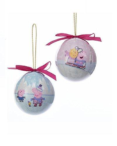 Kurt Adler Peppa Pig Decoupage Christmas Ball Ornament - 2 Assorted: Skating And Sledding