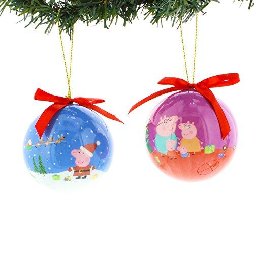 Peppa Pig Kurt Adler 2 piece Decoupage Ball Ornament Set Gift Boxed (Peppa Blue/Purple)