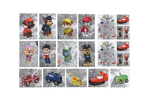 "PAW PATROL 12 Piece Christmas Ornament Set Featuring Skye, Marshall, Chase, Rubbie, Zuma, Rocky, Ryder and Vehicles, Ornaments Average 1"" to 2.5"" Tall, Great for a Mini Christmas Tree"