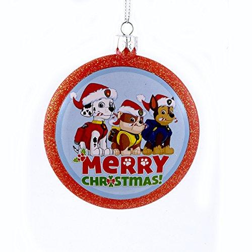 Kurt Adler Paw Patrol Dogs Merry Christmas Shatterproof Disc Ornament