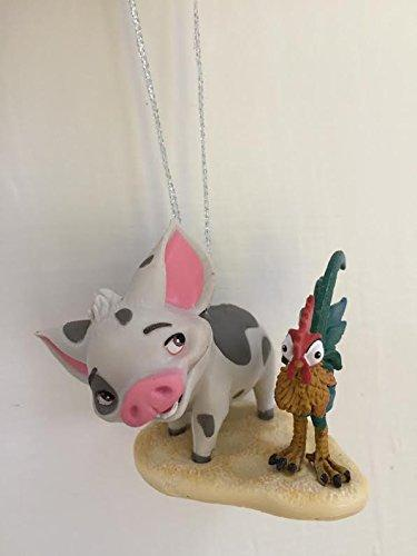 "Disney Moana Pua And Heihei Pet Pig And Rooster Holiday Christmas Tree Ornament PVC Figure 2"" Figurine"