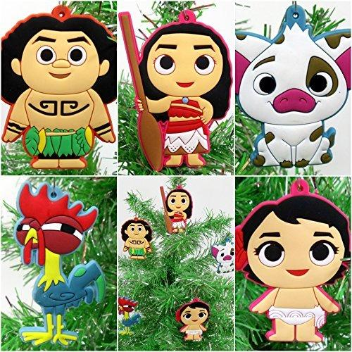 Moana 5 Piece Christmas Tree Ornament Set Featuring Moana, Hei Hei, Maui and Friends