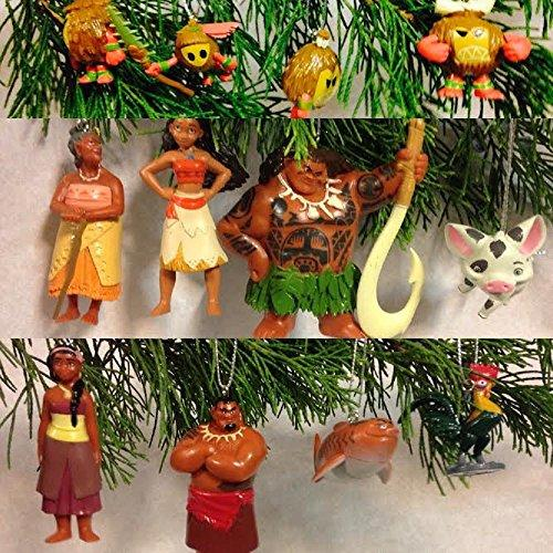 Disney Moana Movie Deluxe Mini Ornament Set with 12 Figures Included Moana, Maui, Pua, Heihei, Tui, Sina, Gramma Tala, Shark and More!