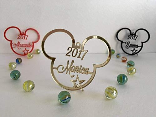 Mickey Mouse Ears Christmas Tree Decoration 2018 Ornament Personalized Name Bauble Disney Party Favor Decor 1st Xmas 2017 Gift for Kids First Birthday Gifts Hanging Cute Minnie Mouse Acrylic Ornaments