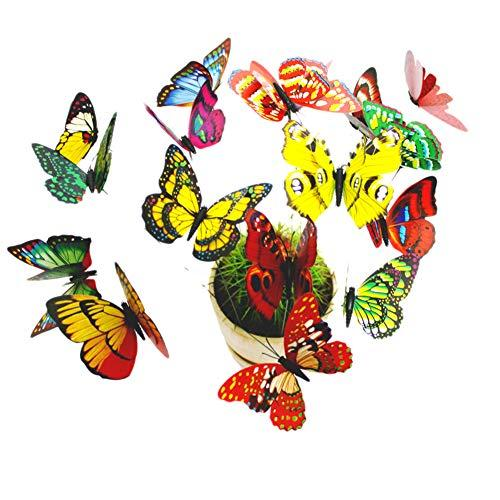 "Dshengoo 50 pcs, 2.76"" Butterfly Garden Ornaments Butterfly Patio Decor Colourful 3D Wings Butterfly Decorations Outdoor Garden Yard Flower Plant Pot Flower Bed Christmas Tree"