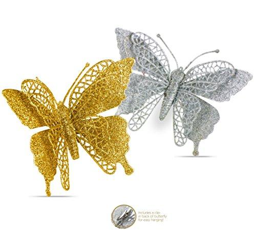 R N D Toys Butterfly Ornaments, Shatterproof Christmas Tree Ornaments Gold and Silver, Butterfly Decoration Clips for Home, Party, Wedding, Or Holiday Décor (Gold & Silver)