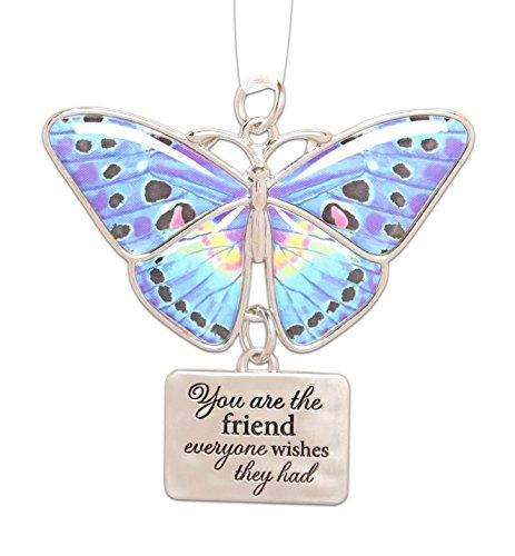 "Ganz 2"" Beautiful Zinc Butterfly Ornament with Sentiment Featuring White Organza Ribbon for Hanging (Friend)"