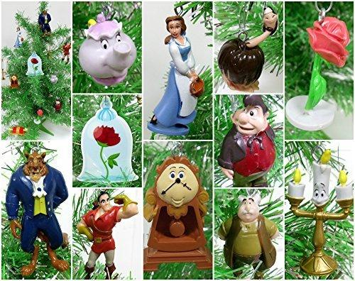 Beauty and the Beast 13 Piece Mini Christmas Tree Ornament Set Featuring Beast, Belle and Friends