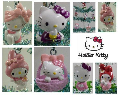 Set of 6 Hello Kitty Christmas Tree Ornaments Featuring Hello Kitty in Various Poses