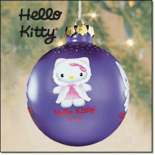 "Hello Kitty 2003 Purple Glass Christmas Tree Ornament (3"" Wide) in the Original Store Display Box"