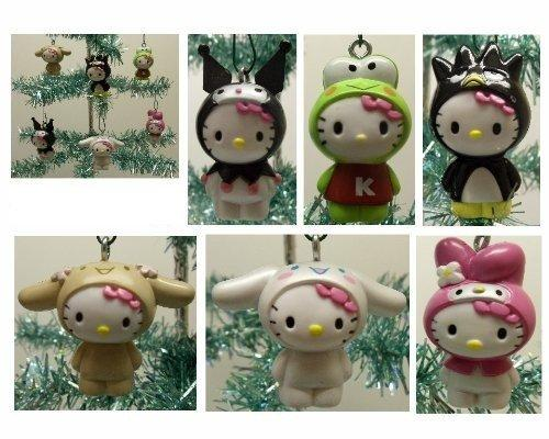Hello Kitty Set of 6 Holiday Christmas Tree Ornaments Featuring Hello Kitty Dressed as My Melody, Keroppi, Kuromi, Bradte-Maru, Cinnamaroll, and Chibimaru