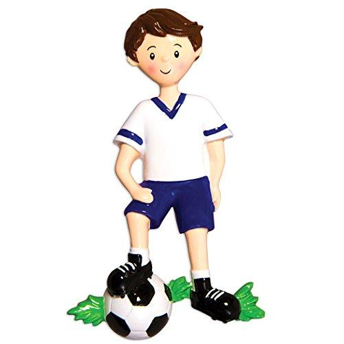 Personalized Soccer Player Christmas Ornament for Tree 2018 - Boy in Uniform Dribbling Foot-Ball - Score Athlete Coach Hobby College FIFA Grand-Son Profession Brunette - Free Customization by Elves