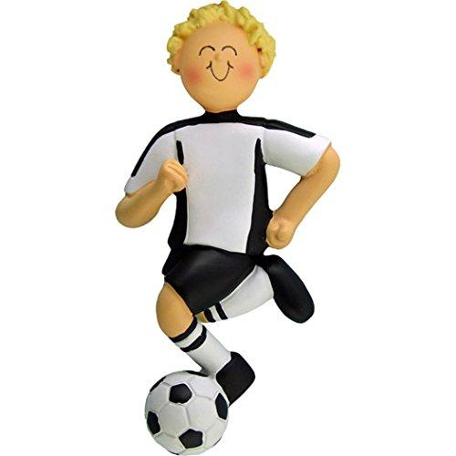 Personalized Soccer Boy Christmas Ornament for Tree 2018 - Blonde Team Athlete in Uniform Dribbling Score Profession Hobby - High School FIFA Grand-Son - Free Customization by Elves (Yellow Hair)