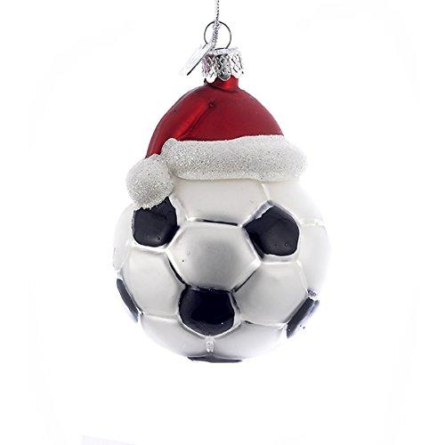 "3"" NOBLE GEMS GLASS SOCCER ORNAMENT W/SANTA HAT."