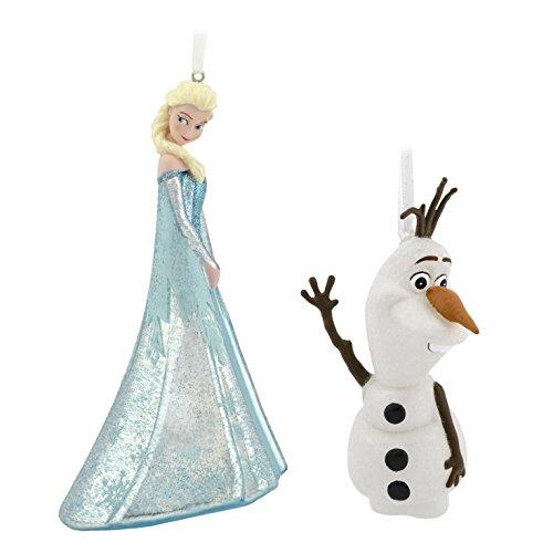 Hallmark Christmas Ornaments, Disney Frozen Elsa and Olaf, Glass Set of 2