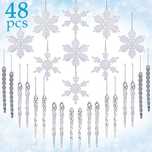LimBridge 48 Pack Chrismtas Tree Hanging Crystal Clear Snowflakes Glitter Silver Icicles Shatterproof Ornament Decoration Set