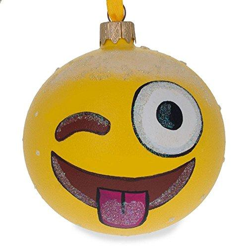 "BestPysanky 3.25"" Winking Emoji Glass Ball Christmas Ornament"