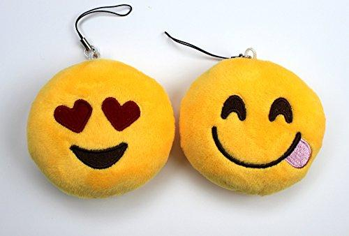 Syleia Emoji Set of 2 Smiling Face Heart-Shaped Eyes and Face With Stuck-Out Tongue Yellow Bright Plush Toy, Backpack Purse Accessory, Party Favor, Keychain