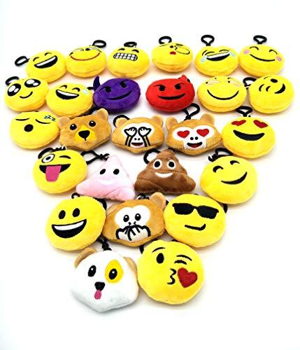 WOERKAZLD Emoji Keychain 32 Pack,Christmas Tree Ornament,Plush Pillows Kids Emoji Party Supplies Favors Car Key Ring Pendant Keychain Decoration (32 Pack)