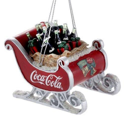 Kurt Adler Coca-Cola Resin Sleigh with Bottles Ornament #CC2155