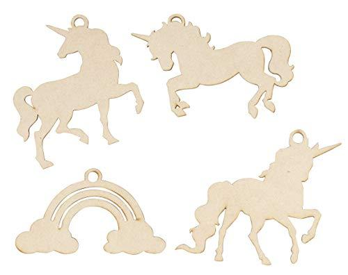 Juvale Unfinished Wooden Christmas Ornaments - 24-Pack Paintable Blank Xmas Tree Hanging Wood Slices for Kids DIY Art Craft, Festive Decoration, 4 Assorted Unicorn Designs, 4.5 x 2.6 to 5 x 4 Inches