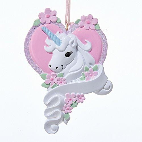 Kurt Adler White Unicorn Horse with Pink Heart Christmas Ornament Holiday Decoration W8285