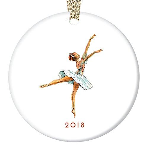"Vintage Nutcracker Ballerina Ornament 2018, Sugarplum Fairy Ballet Porcelain Ornament, 3"" Flat Circle Christmas Ornament with Glossy Glaze, Gold Ribbon & Free Gift Box 