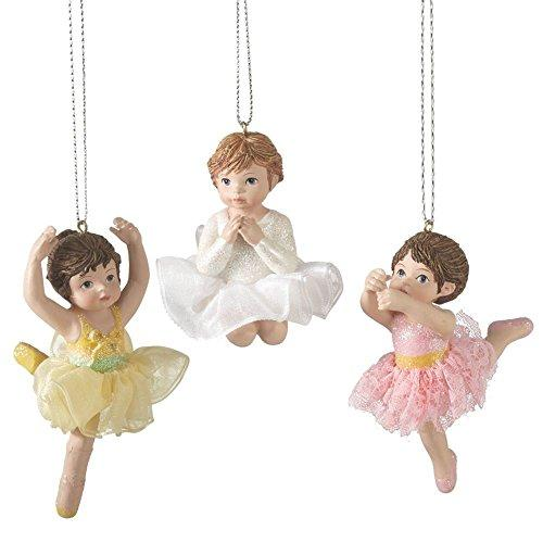 "Christmas Holiday Little Girl Ballerina Ornaments - Set of 3, 2"" - 3"""