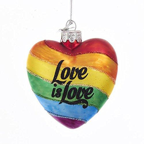 "Kurt Adler NOBLE GEMS GLASS ""LOVE IS LOVE"" RAINBOW HEART ORNAMENT"