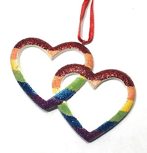 LGBTQ Christmas Ornament, Love is Love Ornament, Same Sex Couple Ornament, Rainbow Hearts