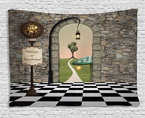 Ambesonne Alice in Wonderland Decor Tapestry, Welcome Wonderland Black and White Floor Tree Landscape Mushroom Lantern, Wall Hanging for Bedroom Living Room Dorm, 80 W X 60 L inches, Multi Color