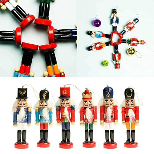 JunMu Xmas Gift Birthday Gift, 6pcs Wooden Nutcracker Soldier Figurines Ornaments Puppets Figures Dolls Toy, Christmas Tree Ornaments Home Party Decor