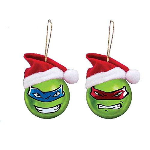 Kurt Adler 60mm Teenage Mutant Ninja Turtles Shatterproof Ball Ornament W/santa Hat 2/asstd: Leo & Ralph.