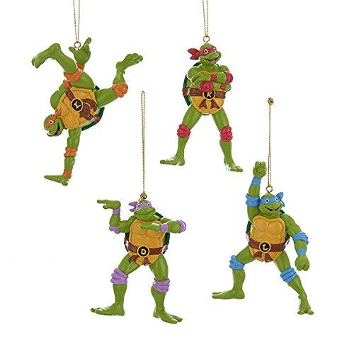 Kurt Adler Teenage Mutant Ninja Turtles Retro Christmas Ornaments 4 Assorted