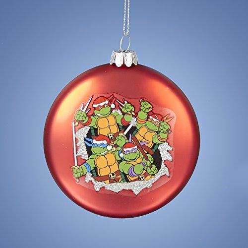 Kurt Adler Glass Teenage Mutant Ninja Turtles Red Disc Ornament, 3.5-Inch
